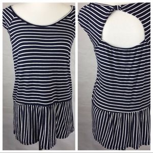 Maurice's Navy and White Striped Peplum Blouse